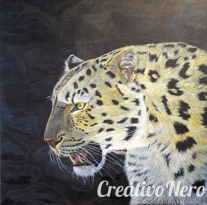 Leopard, 70x70 cm, Vorlage: Wildlife Reference Photos, Acryl auf Leinwand