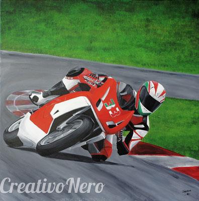 """Motorradfahrer auf der Rennstrecke, """"Imperatore"""", 70x70 cm, Acryl auf Leinwand"""
