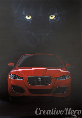 "Jaguar mit Jaguar, ""Unleash the Beast"", 100x70 cm, Acryl auf Leinwand"