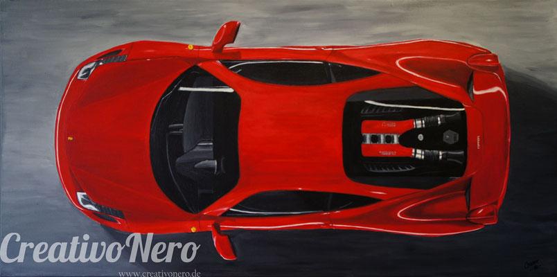 "Ferrari 458 Italia von Oben, ""On Top"", 70x50 cm, Acryl auf Leinwand"