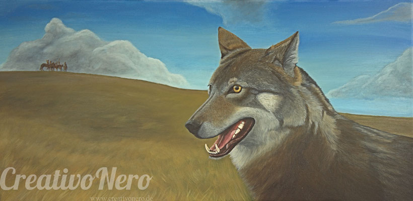 "Wolf in der Prärie, ""Socke"", 100x50 cm, Acryl auf Leinwand"
