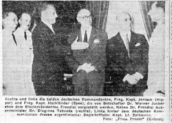 """Die Abordnung der beiden Fregatten wurden in der """"Casa Rosada"""" vom damaligen Präsidenten Frondizi empfangen."""