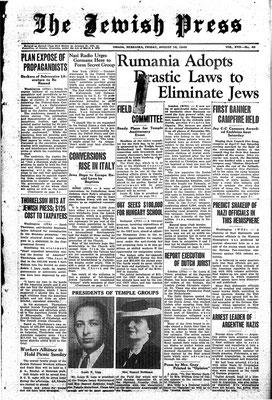 """The Jewish Press"", 16. August 1940 - ""Arrest Leader of Argentne Nazi""."