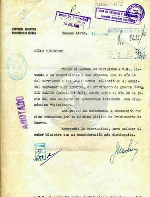 """Walter Kowalczik ist im Krankenhaus """"Centenario de Rosario"""" an Typhus gestorben."""