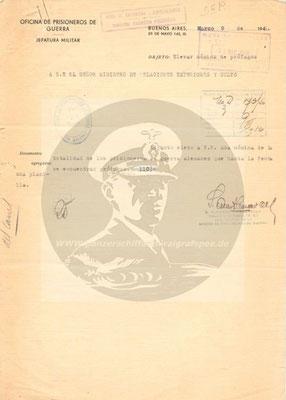 """Aktennotiz von OLt. Cossavella an den arg. Außenminister über die 110 """"untergetauchten"""" Besatzungsmitglieder."""
