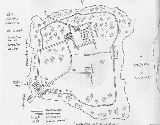 Eine Handzeichnung der Insel Martin Garcia.