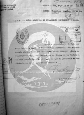 Schreiben vom 10. Mai 1944 - Ob.Stck.Mstr. Ernst Hermann nach Martin Garcia zurückverlegt – Grund: Anwesenheit im Lager ist unerwünscht!