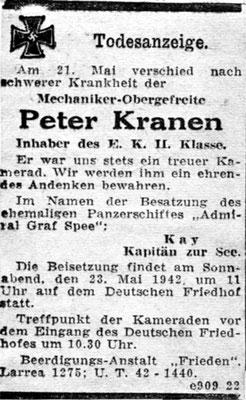 Die Todesursache von Peter Kranen ist nicht bekannt.