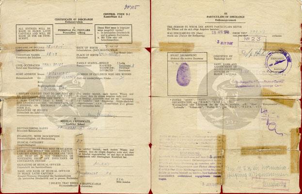 Certificate of Discharge - Entlassungschein.