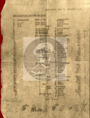 Die Originalliste vom 17. Dezember 1939 mit den Namen der Besatzungsmitglieder, die zum Auslaufen bzw. Sprengung benötigt wurden und an Bord blieben.