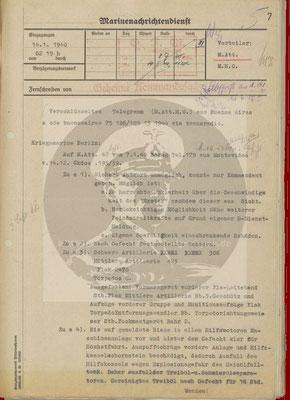 Beantwortung der Anfrage v. 13. Januar 1940