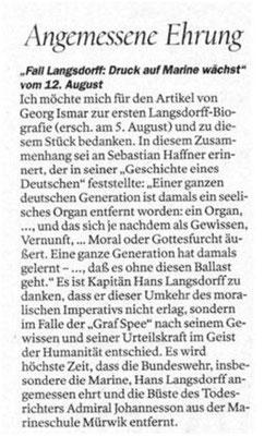 """Leserzuschrift an """" Der Tagespiegel"""" - 12. August 2019."""