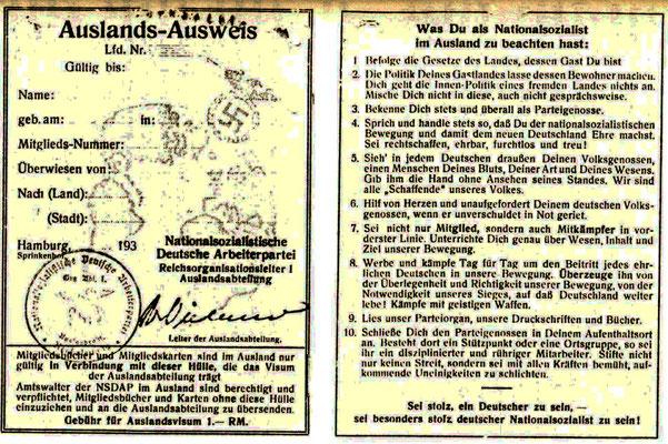 Auslandsausweis der NSDAP.