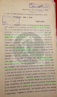 Petition vom 19. Dezember 1945 an den argentinischen Außenminister Dr. J. I. Cooke.