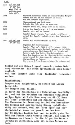 "KTB-Auszug ""Tairoa""."