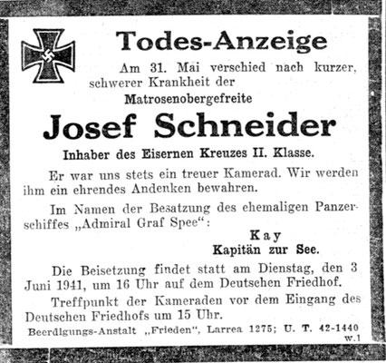 Die Todesursache von Josef Schneider ist nicht bekannt.