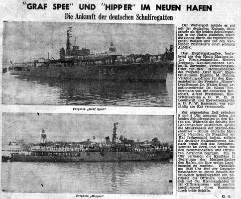 """Die Fregatten """"Graf Spee"""" und """"Hipper"""" im Hafen von Bunos Aires."""