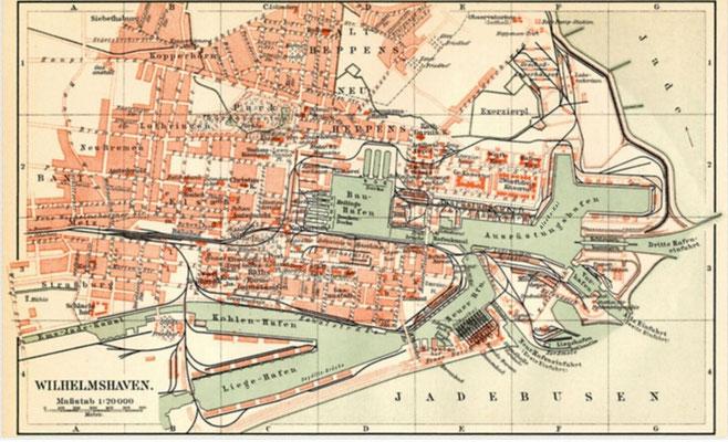 """Die Karte zeigt in etwa den Zeitabschnitt 1905 bis 194o – die drei Einfahrten sind erkennbar, der """"Alaska-Kai"""" und auch die """"Seydlitz-Brücke"""" der zukünftige Liegeplatz der """"Graf Spee""""."""