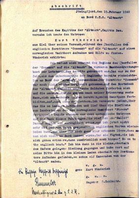 Die Vernehmung des Matrosen Wünderich zum Vorfall vom 16. Februar 1940 im Jøssingfjord.