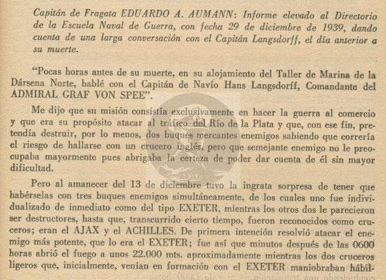 Der vollständige Bericht vom 29. Dezember 1939 an das Direktorium der Marinekriegsschule in Buenos Aires - Seite 1.