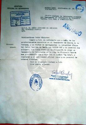 Schreiben an de Inennminister Dr. D. Taborda.