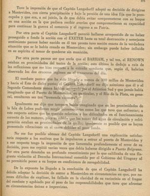 Der vollständige Bericht vom 29. Dezember 1939 an das Direktorium der Marinekriegsschule in Buenos Aires - Seite 3.
