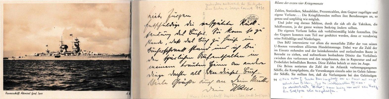 """Die Grußkarte mit der Abbildung der """"Graf Spee"""", mit persönlichen Worten von Hans Langsdorff und der Kommentar - 1939."""