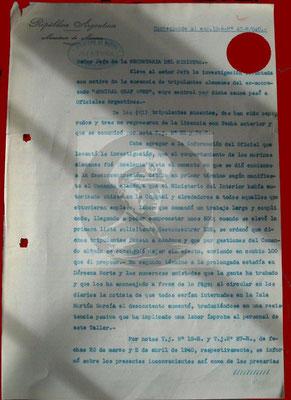 Interner Bericht an das argentinische Marineministerium I.