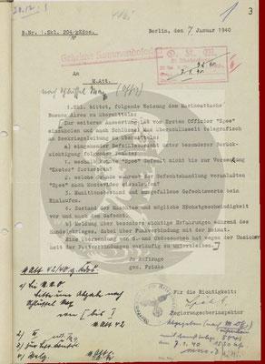 Anfrage SKL v. 07. Januar 1940