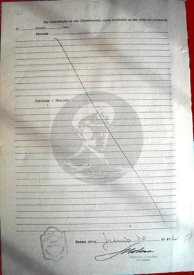 Planilla Prontuarial – Rückseite.