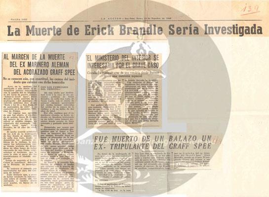 """Zeitungsbericht aus der """"La Accion"""" zum tragischen Tod von Erich Brändle."""