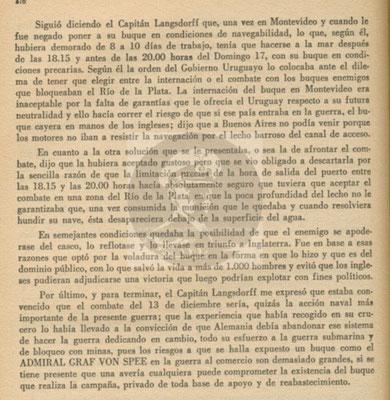 Der vollständige Bericht vom 29. Dezember 1939 an das Direktorium der Marinekriegsschule in Buenos Aires - Seite 4.