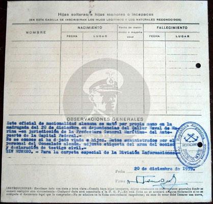"Formular der ""Dársena Norte"" - Rückseite."