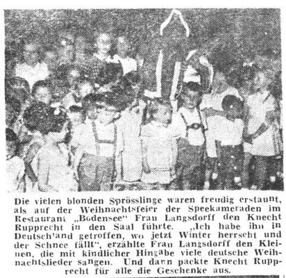 """Weihnachtsfeier 1954 - an der auch Frau Langsdorff und Tochter Inge teilgenommen hatten – erste Reihe, 3. von rechts der Autor in """"Seppelhosen"""" - dahinter der Weihnachtsmann."""