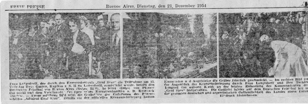 1954 Frau Langsdorff mit Tochter Inge zu Besuch in Buenos Aires und am Grab von Hans Langsdorff.