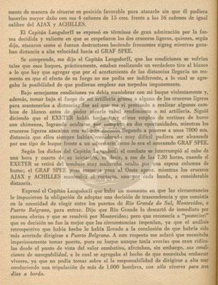 Der vollständige Bericht vom 29. Dezember 1939 an das Direktorium der Marinekriegsschule in Buenos Aires - Seite 2.