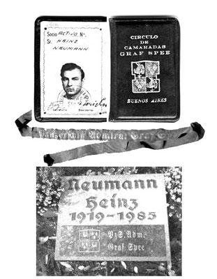 Grabstein mit Speewappen und Schiffsname - Ausweis der Spee-Kameradschaft der Jahre 1948-1962 und Mützenband.