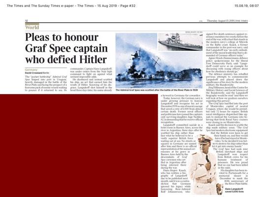 """""""The Times"""" - Fürsprache zu Ehren des Graf-Spee-Kapitäns, der sich Hitler widersetzte - 15. August 2019."""