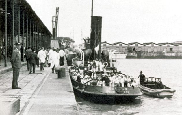 Der Anlegeplatz der Auswandererschiffe.