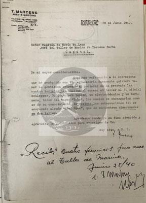 """Martens als Vertreter der HapagLloyd an den Leiter des Arsenal Naval, in dem er zwei Besatzungsmitglieder der """"Lahn"""" angündigt, die den Zustand der Verkehrsboote untersuchen sollten."""