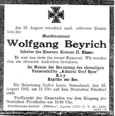 Wolfgang Beyrich starb im deutschen Krankenhaus in Buenos Aires  an einer Darmtuberkulose.