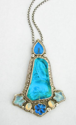 Blue antique glass plate necklace #3