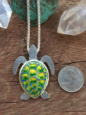 Cloisonne enamel sea turtle