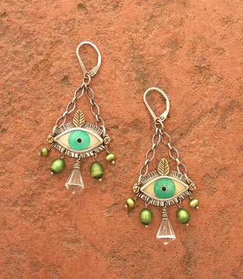 Coisonne enamel Evil eye earrings #2