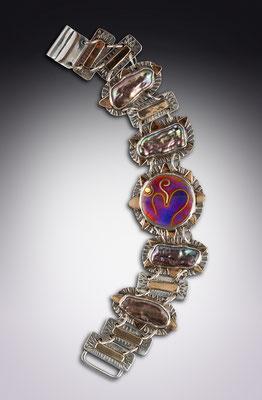 Cloisonne enamel Om Bracelet
