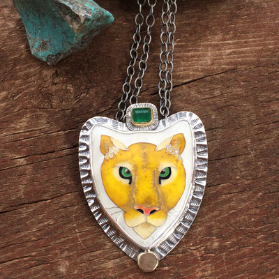 cloisonne enamel mountain lion necklace