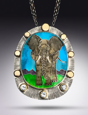 Cloisonne enamel elephant necklace