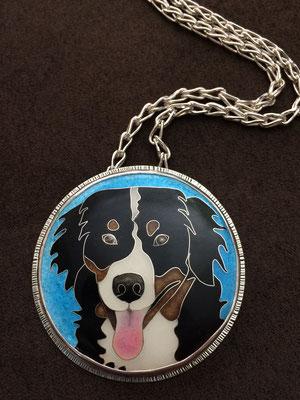 cloisonne enamel dog portrait