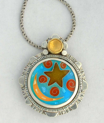 Cloisonne enamel Moon and star pendant