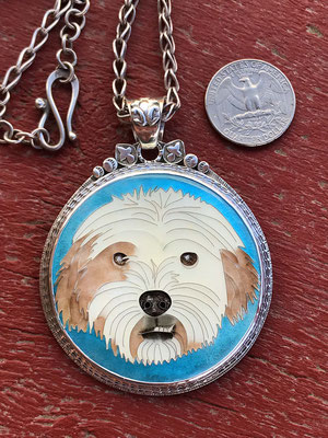 custom enamel dog portrait
